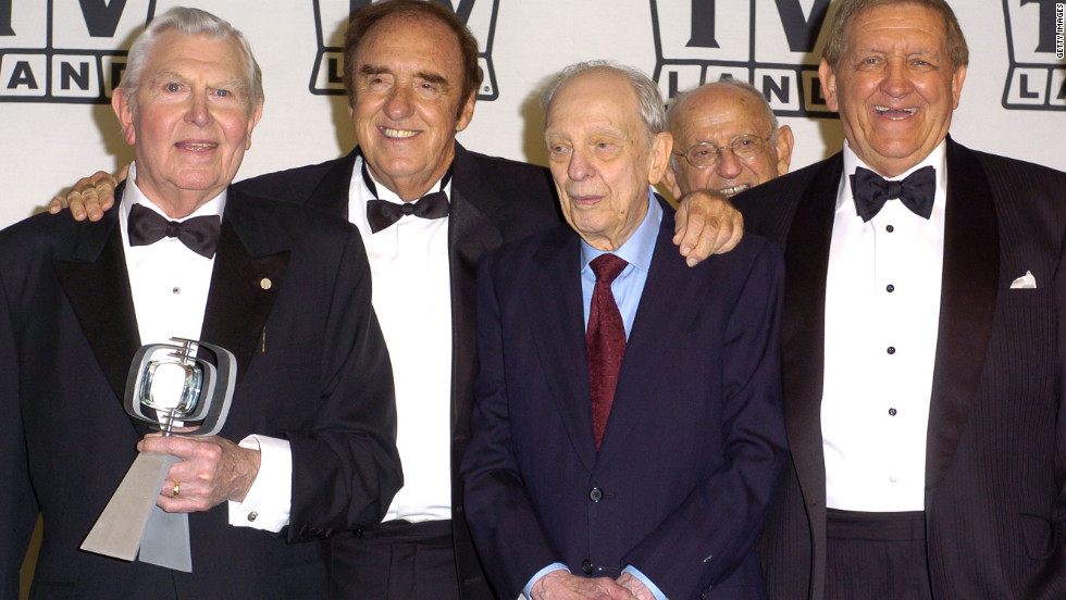Left to right, Andy Griffith, Jim Nabors, Don Knotts and George Lindsey pose at the TV Land Awards in 2004.