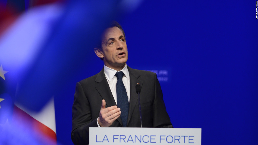 Nicolas Sarkozy addresses his supporters and concedes defeat Sunday. During the election season, he was fighting to keep his job amid a wave of discontent.