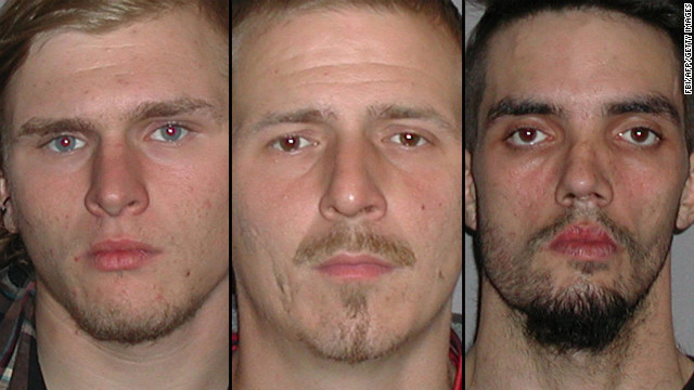 From left, Brandon Baxter, Anthony Hayne and Douglas Wright allegedly conspired to blow up a bridge in Ohio.