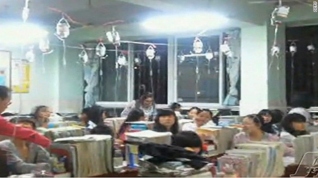 China students use IV drips before exams