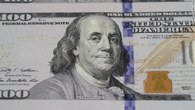 United States hundred dollar bills being printed.