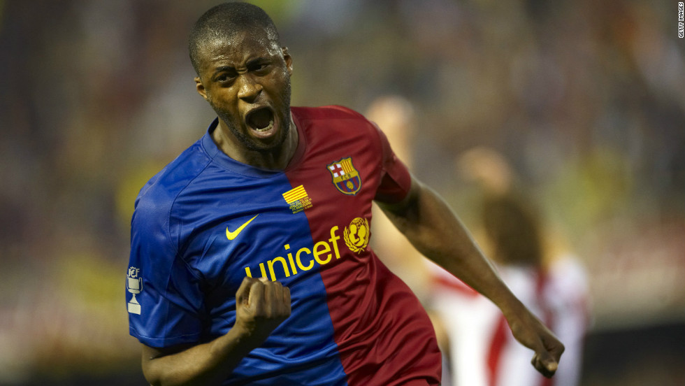 Two weeks earlier, also playing in defense, Toure scored the opening goal as Barcelona beat Athletic Bilbao 4-1 in the Spanish Cup final.