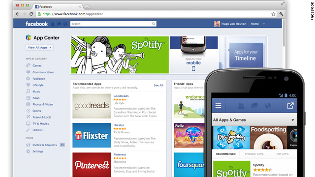 Facebook's new App Center will let users find free and paid apps that run on the networking site.