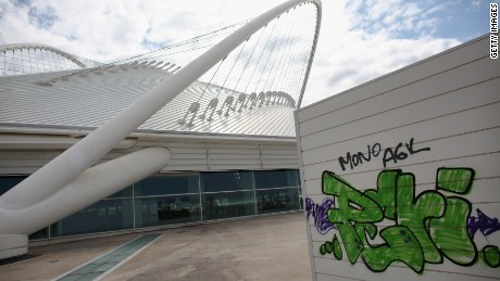With graffiti apparent, the 2004 Olympic Games Complex appears in disrepair in February 2012 in Athens, Greece.
