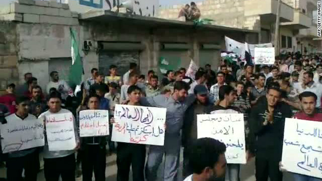 An image grab taken from a video uploaded on YouTube allagedly shows an anti-government demonstration in the Syrian town of Kafrruma in the restive Idlib region near the border with Turkey on May 11, 2012.