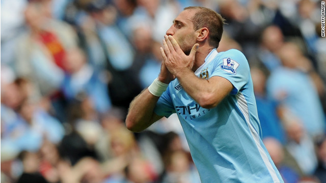 Manchester City's Argentinian defender Pablo Zabaleta celebrates after scoring in the final game of the EPL.