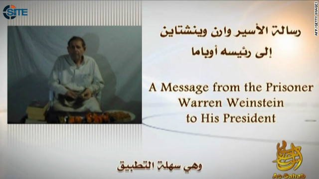 In this picture released by the SITE Intelligence Group on May 6, 2012 and taken off the video, Al-Qaeda�s media arm, A-Sahab shows US captive Warren Weinstein telling US President Barack Obama to answer al-Qaeda's demands or he will be killed.