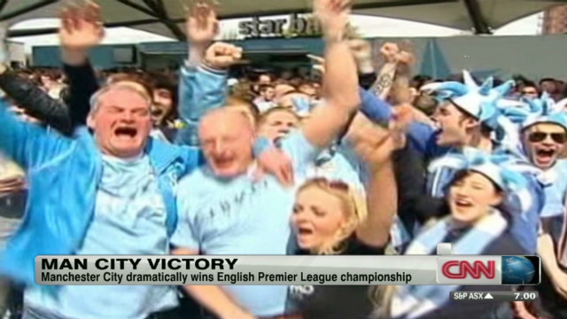 Fans celebrate Manchester City's big win