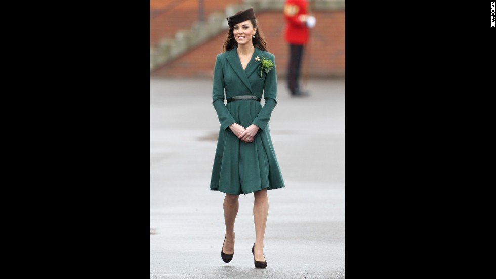 "Kate donned a belted emerald coat by Emilia Wickstead on St. Patrick's Day in Aldershot, England. She accessorized her ensemble with a gold shamrock brooch -- a royal heirloom, according to<a href=""http://www.telegraph.co.uk/news/uknews/theroyalfamily/9150267/Duchess-of-Cambridge-presents-St-Patricks-Day-shamrock-to-Irish-Guards.html"" target=""_blank""> The Telegraph.</a>"