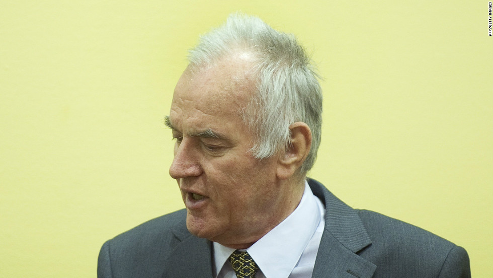 Mladic appears at his war crimes trial on May 16, 2012. He eluded authorities for nearly 16 years until his capture in May 2011.