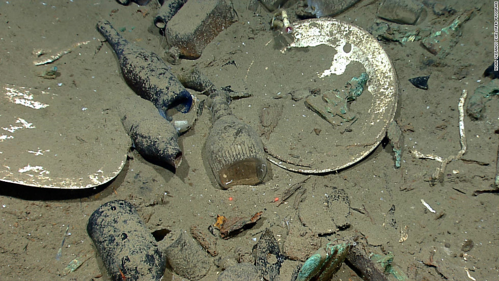 Artifacts discovered at the wreck site included ceramic plates, platters, and bowls. A wide variety of glass bottles for liquor, wine, medicine and food were also found -- including some of their original contents.