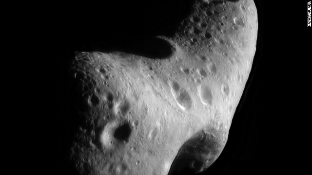 This image, taken by NASA's Near Earth Asteroid Rendezvous mission in 2000, shows a close-up view of the asteroid Eros.