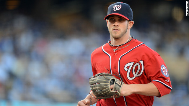 Bryce Harper made his major league debut against the Los Angeles Dodgers on April 28.