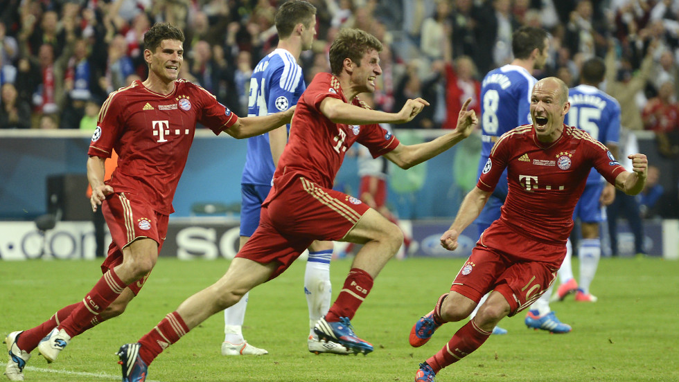Thomas Mueller celebrates his opening goal for Bayern Munich with just seven minutes remaining.