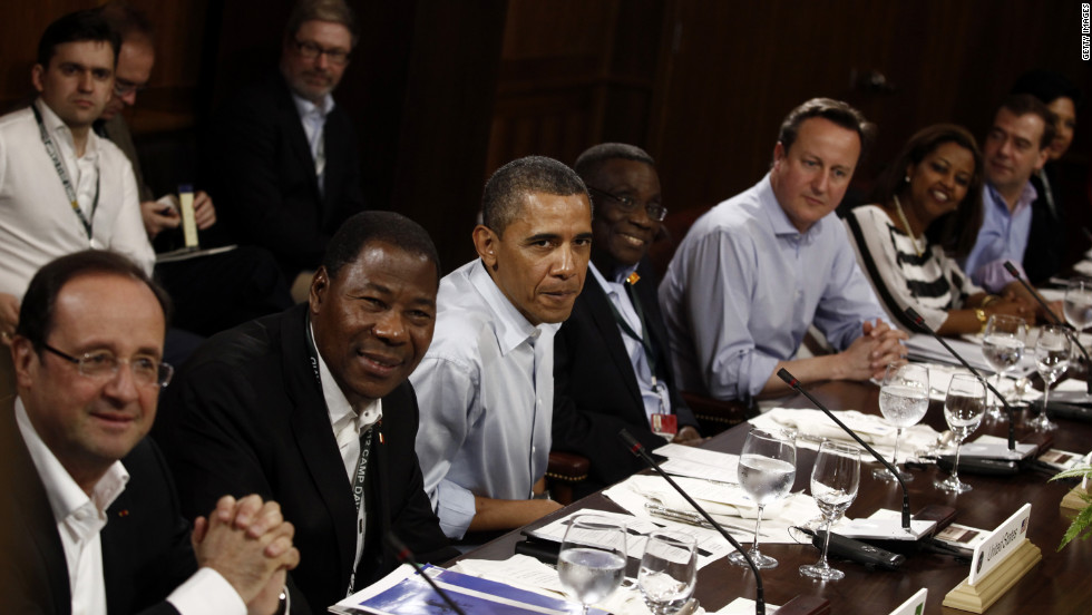 President Obama attends a working lunch with African leaders and G8 leaders at Camp David.