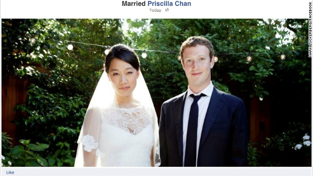 Facebook founder Mark Zuckerberg married his longtime girlfriend, Priscilla Chan, on May 19, 2012.