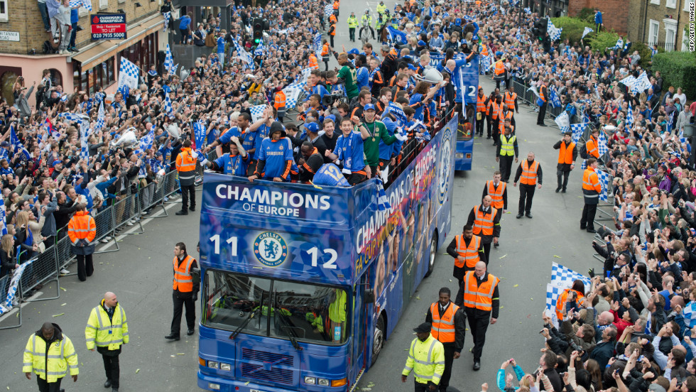 An estimated 100,000 Chelsea fans were in Munich for the final and thousands more lined the parade route on Sunday