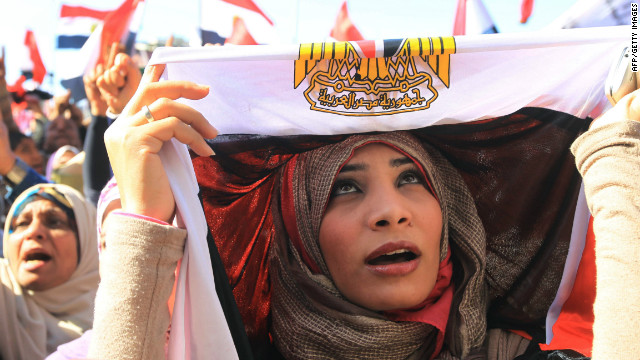An Egyptian women demonstrates in Cairo's Tahrir Square in January  2012, ahead of a mass rally to demand democratic change.
