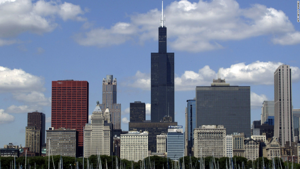 Completed in 1974, Chicago's Willis Tower (formerly called Sears Tower) has an architectural height of 1,451 feet (442.1 meters) and is occupied by 1,354 feet (412.7 meters).