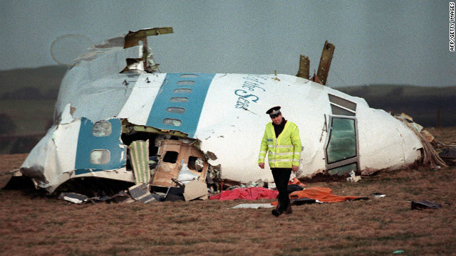 The wreckage of Pan Am Flight 103 that exploded over Lockerbie, Scotland, in 1988.