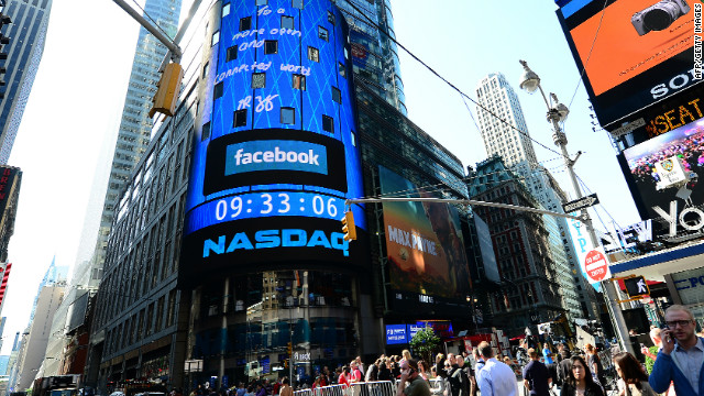 Facebook IPO is announced on a screen outside the NASDAQ stock exchange in Times Square in New York City on May 18.
