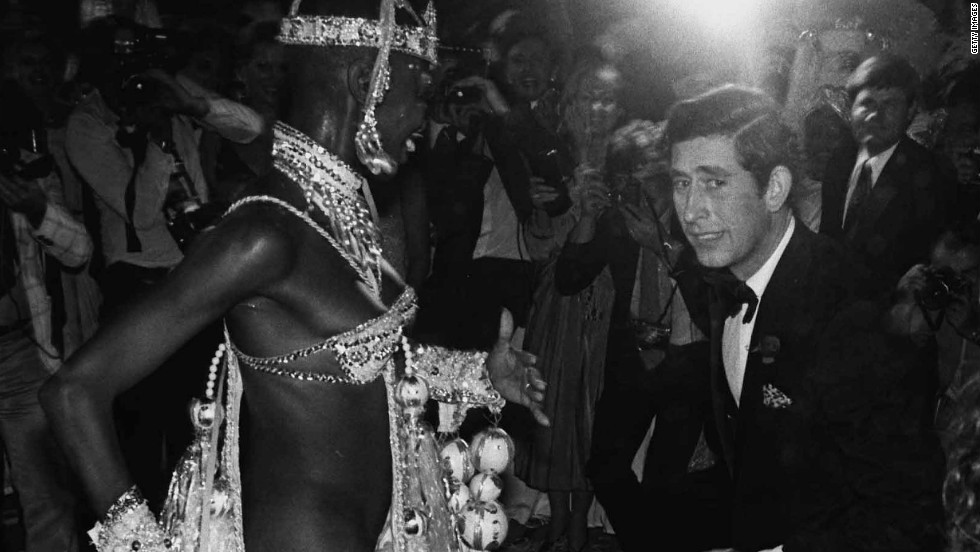Prince Charles dances with Pinah of the Beija-Flor samba school in Rio de Janeiro on March 9, 1978.