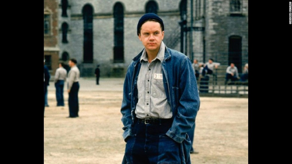 "<strong>""The Shawshank Redemption"":</strong> Stephen King's novella ""Rita Hayworth and Shawshank Redemption"" appears in his 1982 collection ""Different Seasons."" It's about a wrongly convicted banker who slyly figures out a way to escape from prison. Tim Robbins (pictured) plays the banker in the 1994 film; Morgan Freeman plays his convict friend, Red."