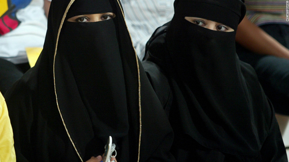 Most Emirati women wear the traditional abaya -- long, loose robes that cover the whole body -- here worn with the niqab, which covers the face.