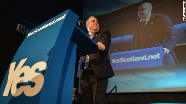 Alex Salmond, Scotland's First Minister, attends the Yes campaign launch.