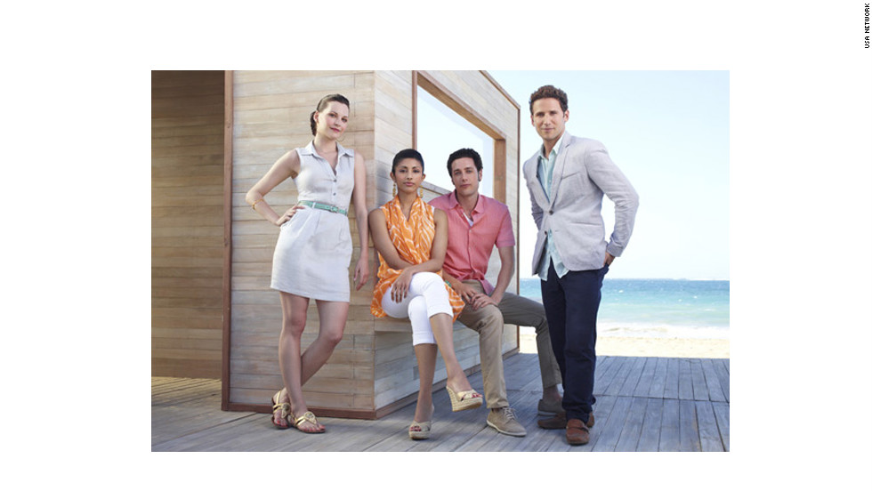 "We're not spending this summer at the Hamptons -- but that's where ""Royal Pains,"" centered on Dr. Hank Lawson (Mark Feuerstein, right) comes in. Jill Flint, left, Reshma Shetty and Paulo Costanzo also star."