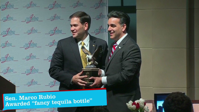 Rubio awarded 'fancy tequila bottle'