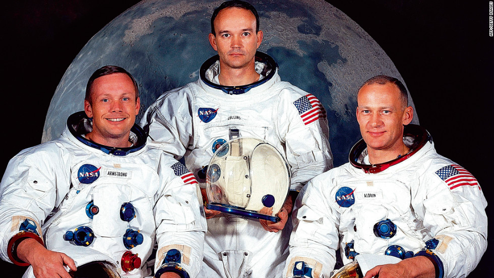 The astronaut crew of the Apollo 11 mission are pictured in May 1969. Left to right are Neil Armstrong, commander; Michael Collins, command module pilot; and Edwin 'Buzz'  Aldrin, lunar module pilot.