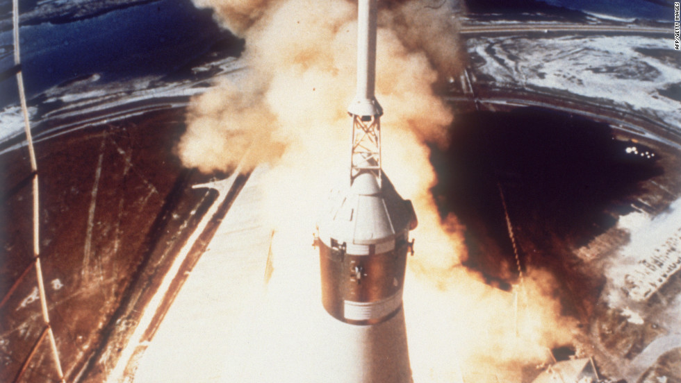 The Saturn V rocket carrying the crew of Apollo 11 takes off from Pad A, Launch Complex 39 at the Kennedy Space Center.