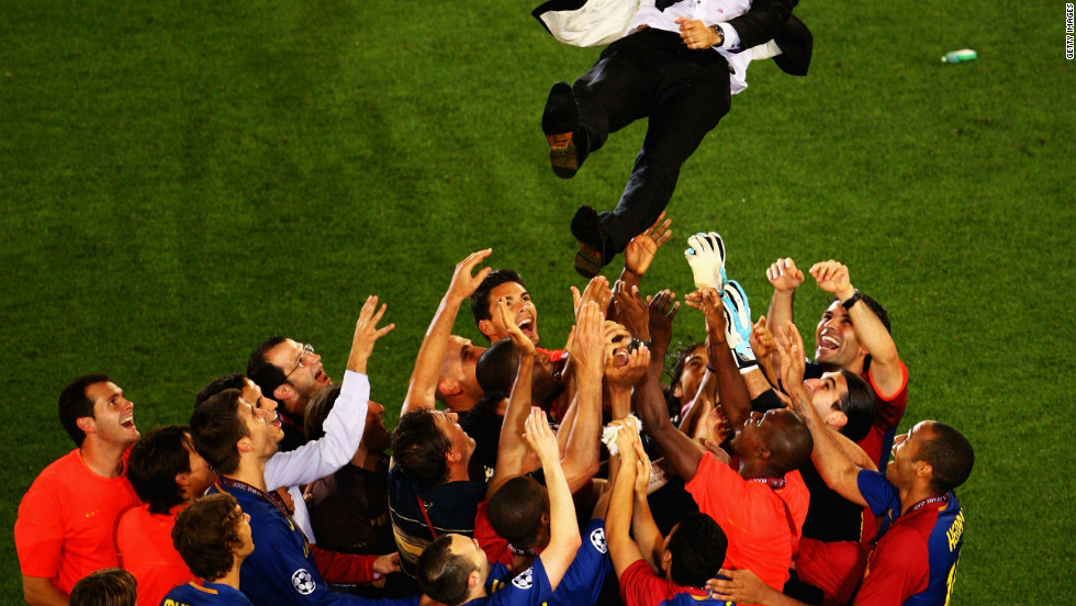In Guardiola's first season Barcelona won an unprecedented treble as they scooped the Spanish league title, the Spanish Cup and the European Champions League, beating Manchester United in Rome.