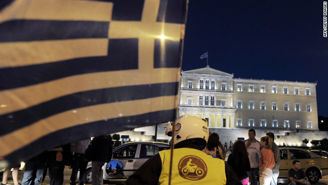 Greek 'Indignants' gather in front of the Greek parliament in Athens to commemorate the one year anniversary of the start of the movement on May 25, 2012.