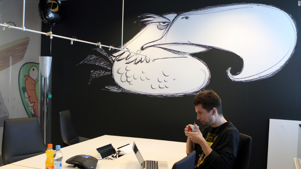 "A mural of an ""Angry Birds"" character, the Mighty Eagle, adorns a conference room at the Rovio offices."