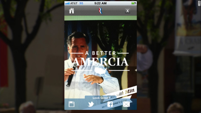 A typo on a new mobile app from the Romney campaign was the butt of jokes on social media on Wednesday.