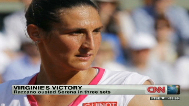 Virginie Razzano beats Serena Williams