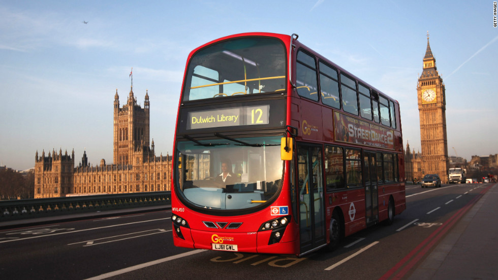 The trams have gone but the distinctive red double-decker buses still grace the streets of London in 2012.
