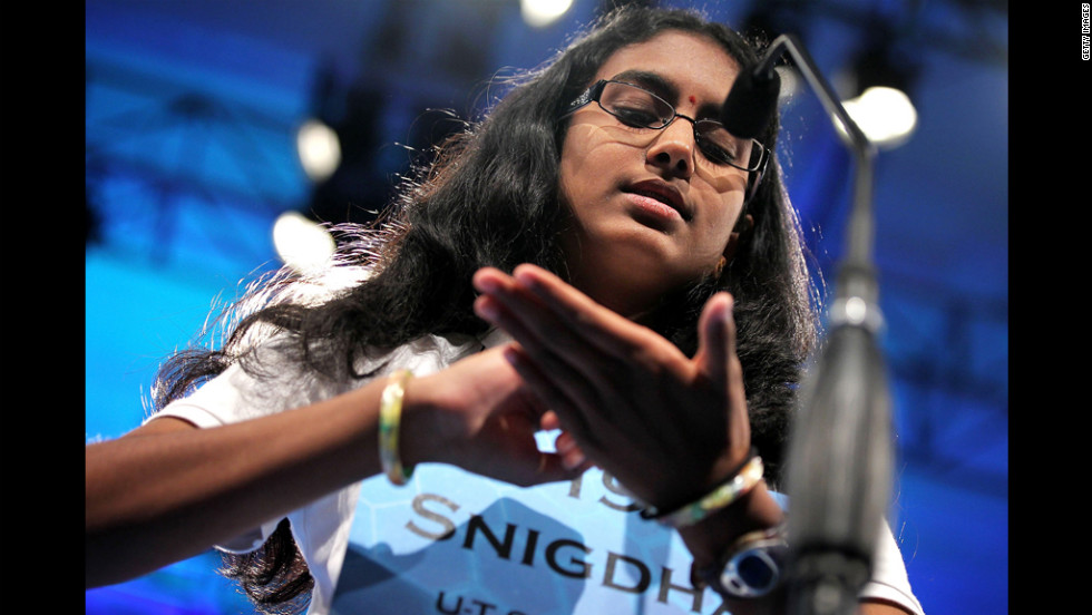 "Snigdha Nandipati, 14, won the Scripps National Spelling Bee Thursday night by properly spelling ""guetapens,"" which means an ambush snare or trap."