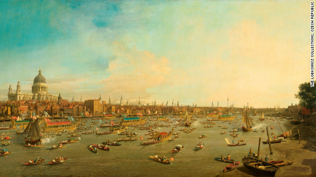 "Canaletto's ""London: The Thames on Lord Mayor's Day, Looking Towards the City and St Paul's Cathedral"", from the Lobkowicz Collections, Czech Republic."