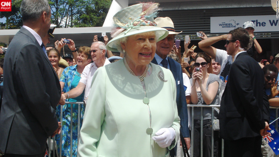Britain's Queen Elizabeth II during a visit to Brisbane, Australia, October 24, 2011. This photo was taken by Chaleen Botha shortly after the monarch met her daughter, nine-year-old Tatum.