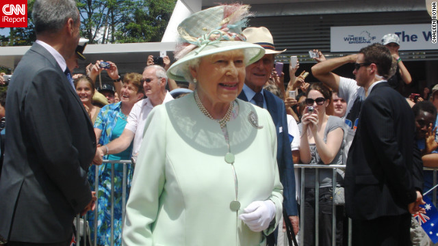 Britain's Queen Elizabeth II during a visit to Brisbane, Australia, October 24, 2011. This photo was taken by Chaleen Botha shortly after the monarch met her daughter, 9-year-old Tatum.