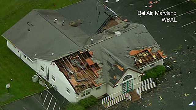 Severe storm rips roof off building