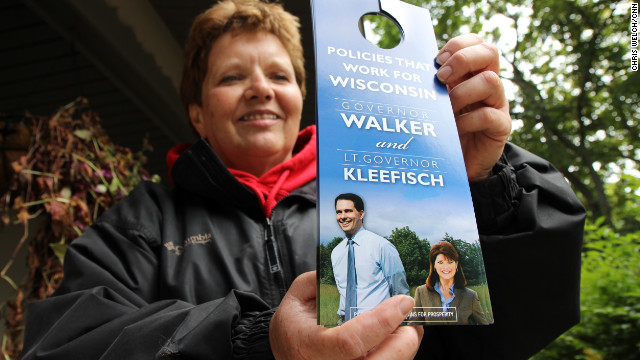 Oriannah Paul, founder of the Sheboygan Liberty Coalition, goes door knocking for Gov. Scott Walker.