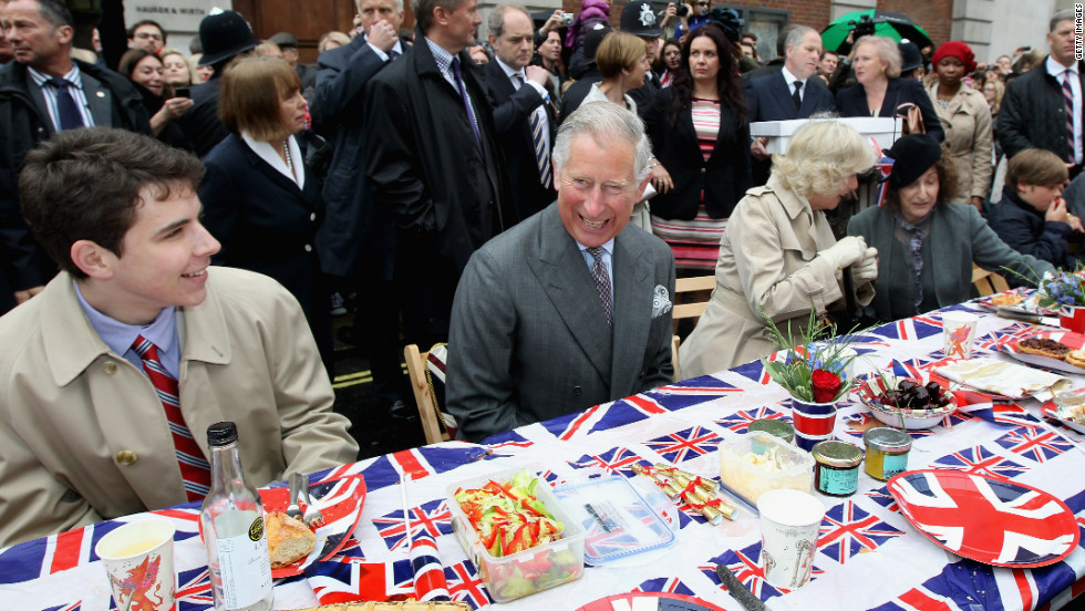 "Prince Charles, Prince of Wales and Camilla, Duchess of Cornwall attend the ""Big Jubilee Lunch'"" in Piccadilly ahead of the Diamond Jubilee River Pageant."