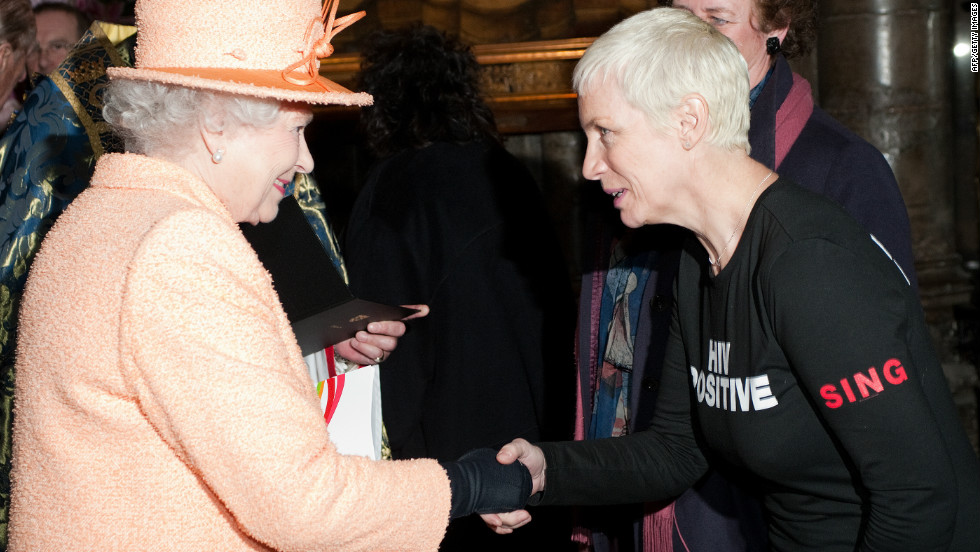 Scottish singer Annie Lennox meets the queen following the annual Commonwealth Day Observance Service at Westminster Abbey on March 14, 2011. The theme of the event was 'Women as Agents of Change.' Lennox is well known for her HIV/AIDS activism.