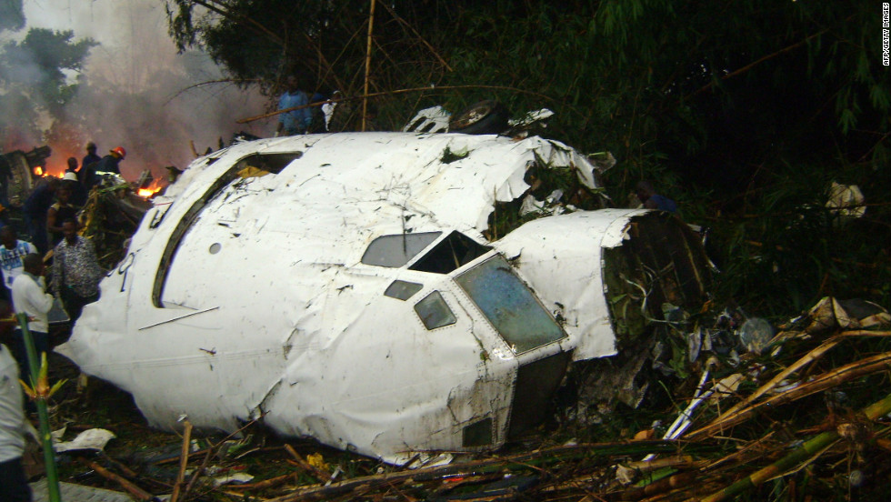 A Hewa Bora Airways plane crashed on July 8, 2011, while trying to land in bad weather at the airport in Kisangani, Democratic Republic of Congo. At least 74 of the 118 people on board were killed.
