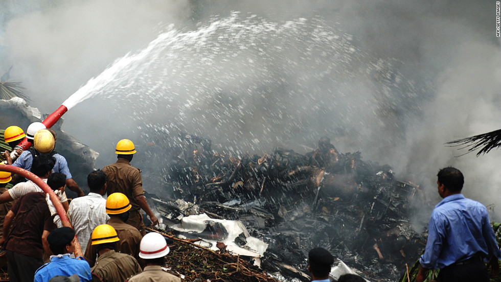 An Air India plane crash killed 158 people on May 22, 2010, after the jet overshot a runway in Mangalore, in southwestern India, crashed into a ravine and burst into flames.