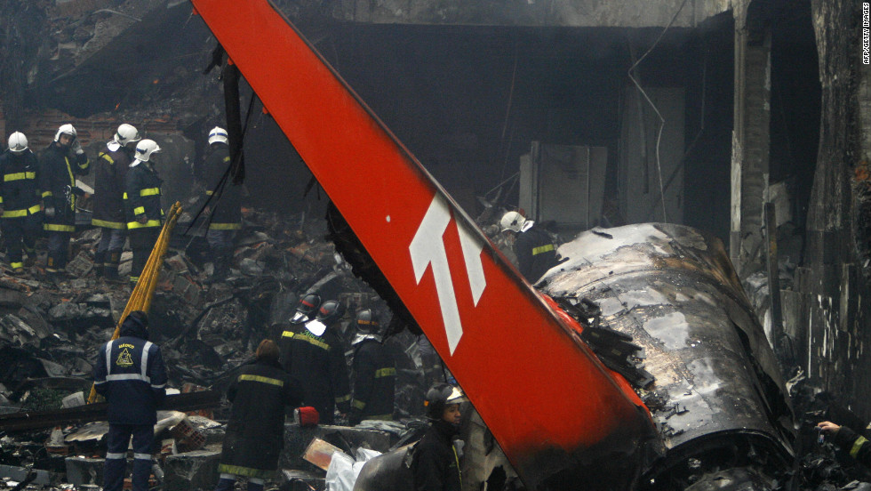 A TAM Airlines jet skidded off the runway into a gas station and burst into flames on July 17, 2007, after landing at the airport in Sao Paulo, Brazil. All 199 people on board were killed.